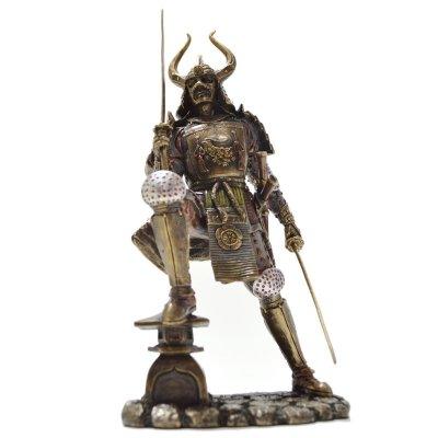 Samurai cu katana, statueta bronz