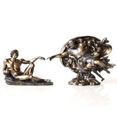 """""""Crearea lui Adam"""" de Michelangelo, statueta bronz"""