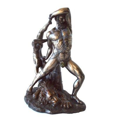 """""""Hercule luptand cu Lycaon"""", statueta bronz"""