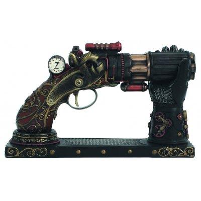 Decoratiune 'Pistol Rack', steampunk, rasina si bronz
