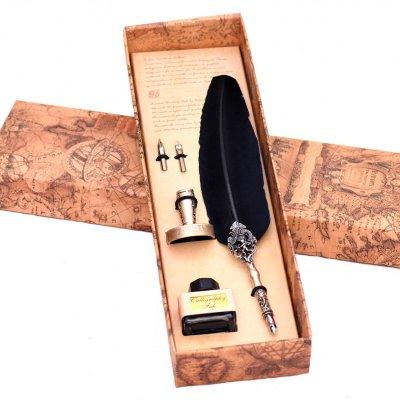 Set de scris de lux cu pana in cutie cadou