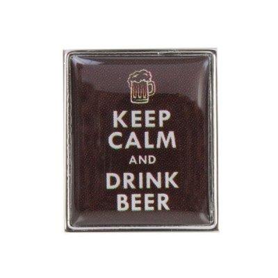 Butoni camasa, model 'Keep calm and drink beer'