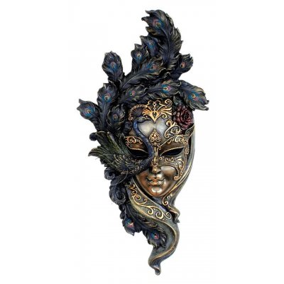 Masca venetiana, rasina si bronz, decoratiune de perete 'Peacock'