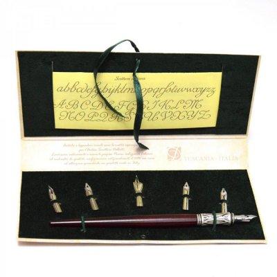 Set de scris cu stilou de lemn si penite