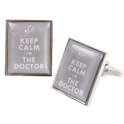 Butoni camasa, model 'Keep Calm I'm the Doctor'