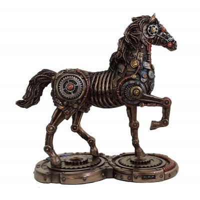 Statueta rasina si bronz Cal steampunk