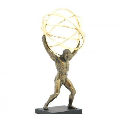 Statueta rasina si bronz 'Omul cu glob', mica