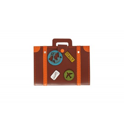 Port-pasaport cu decoratiuni travel, piele