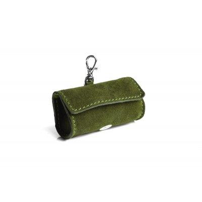 Accesoriu din piele, verde, pentru igiena caini