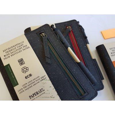 Notes coperta piele naturala reciclata cu buzunar si fermoar si pix asortat 14,4 x 18 cm