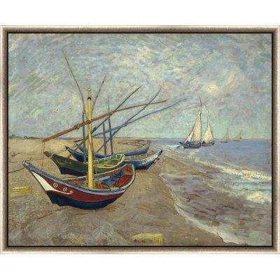 """Tablou """"Bărci de pescuit pe plajă la Les Saintes-Maries-de-la-Mer"""" Vincent Van Gogh"""