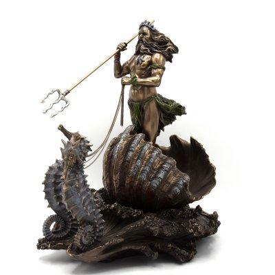 Statueta rasina si bronz, Poseidon, zeul marii