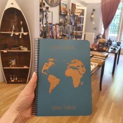 "Notebook coperta lemn model ""Harta lumii"""