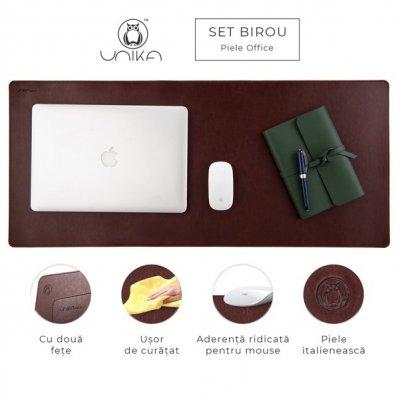 Set birou Office cu accesorii, piele maro