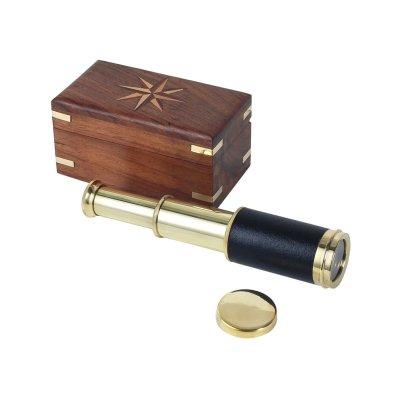 Telescop mic, alama, in cutie lemn