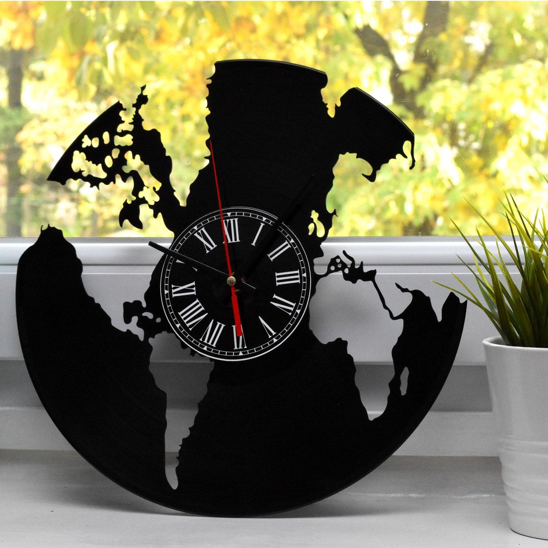 Ceas de perete Harta lumii pe disc de vinil