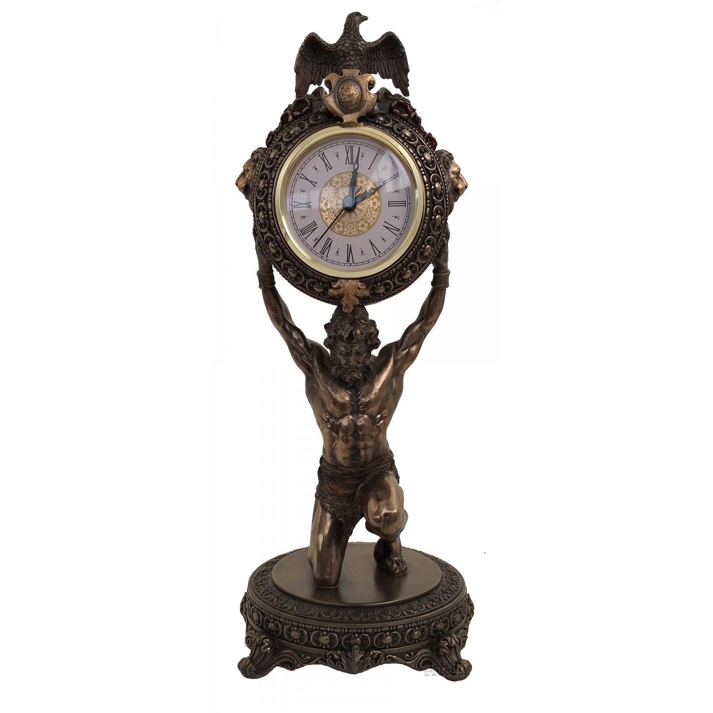 Statueta Atlas cu ceas, rasina si bronz