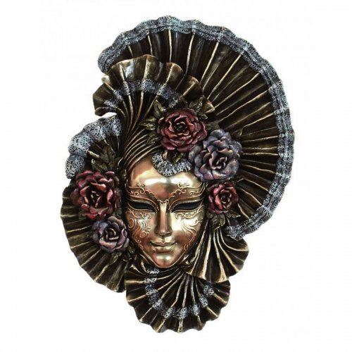 """Masca venetiana, rasina si bronz, decoratiune de perete 'Poenia"""""""