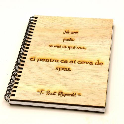 Notebook coperta lemn cu mesaj