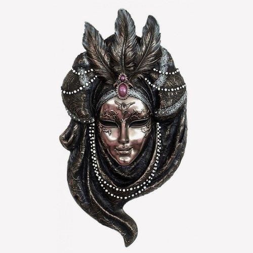 """Masca venetiana, rasina si bronz, decoratiune de perete """"Pearls"""""""