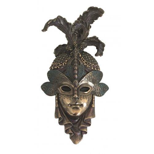 """Masca venetiana, rasina si bronz, decoratiune de perete """"Libelula"""""""