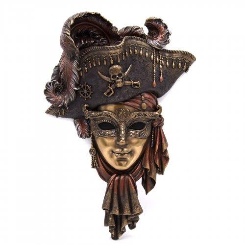 """Masca venetiana, rasina si bronz, decoratiune de perete 'Piratul"""""""