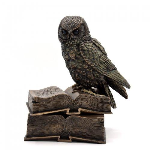 Statueta rasina si bronz 'Mica bufnita pe carte'