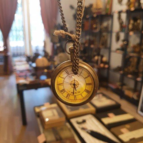 Ceas de buzunar retro cu lant, bronz