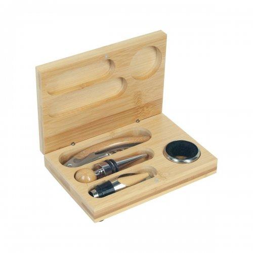 Set accesorii vin in cutie de lemn